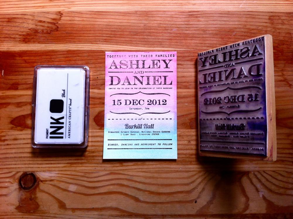 DIY Rubber Stamp Classic Wedding Invitation
